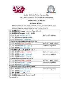 Game schedule England
